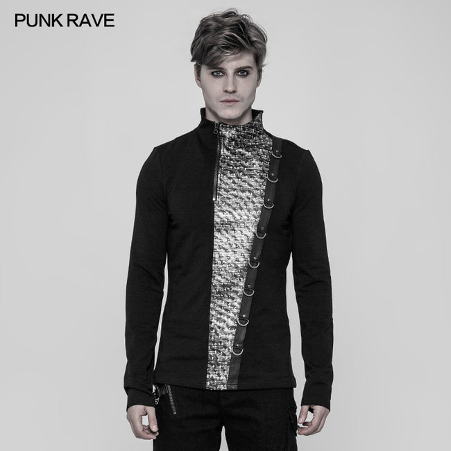 Steampunk Metal Rivet Embossing Knitting T-shirt For Men