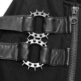 Personality Zipper Pocket Punk Pants Leather Splicing Trousers For Men