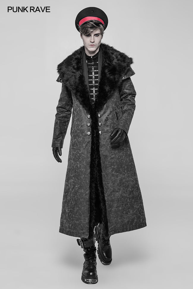 Royal Alliance Warlord Punk Mottled Textures Thick Long Coat With Removable Faux Fur Collar