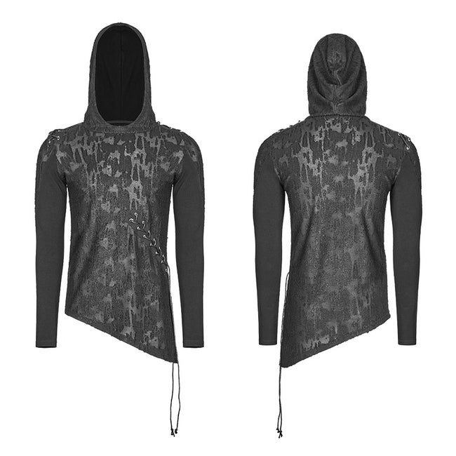 Diablo Assassin Punk Hooded T-shirt Asymmetric Personality Top For Men