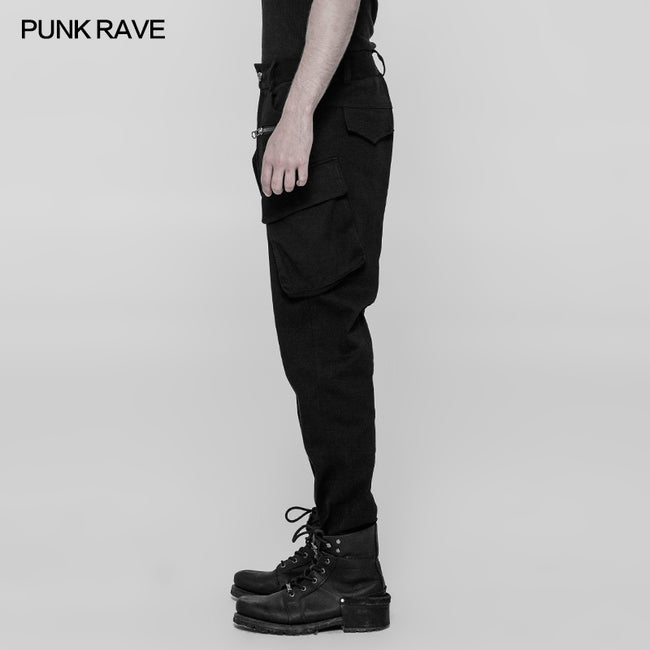 Men's Punk Double Pocket Low Crotch Pants Personality Trousers