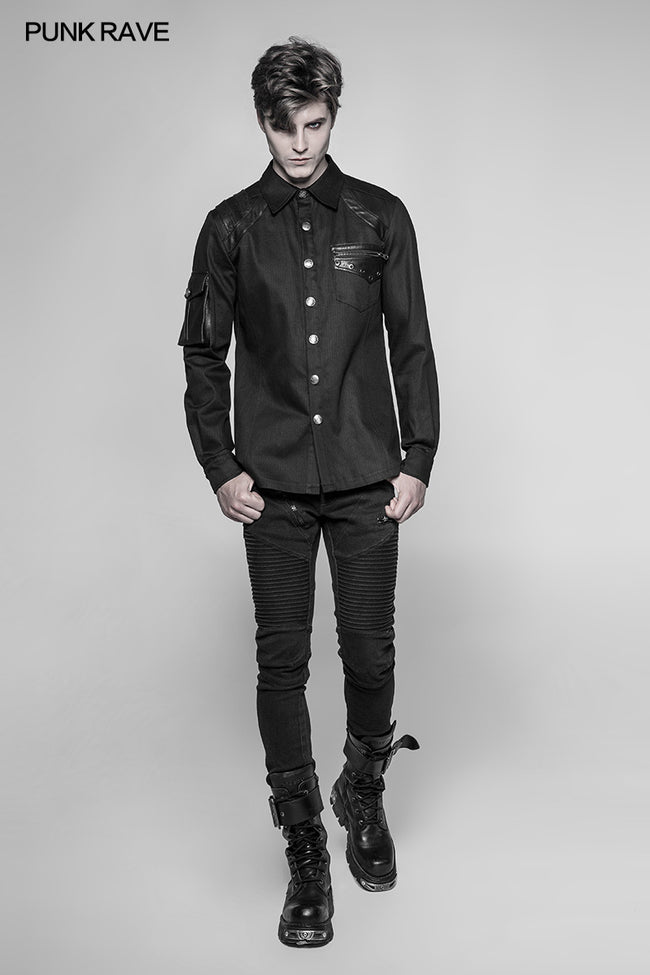 Men's Punk Heavy Woven And Shiny Leather Splicing Long Sleeve Shirt