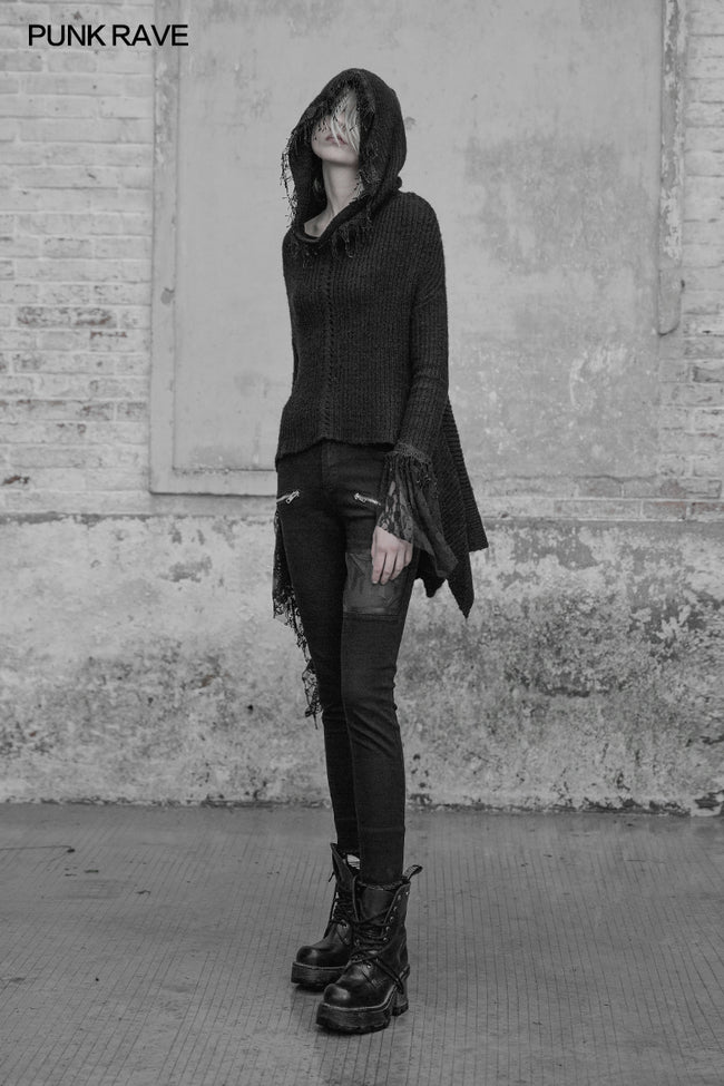 Dark Gothic Witch Hooded Sweater Asymmetrical Tassel Lace Fringed Knit Pullover