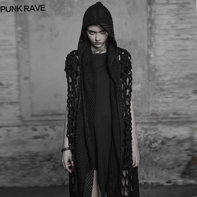 Dark Gothic Mesh Wool Knitting Hooded Scarf With Lace Decoration