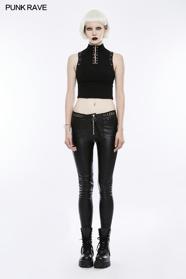 Women's Black Elastic Leather Punk Trousers Personality Tights With Fishnet Lace On Waist