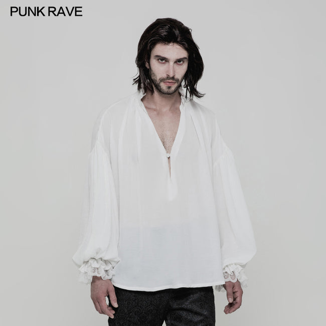 Men's Vintage Loose Soft Comfort Gothic Shirt With Large Neckline And Lace Cuff