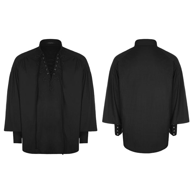Men's Retro Gothic Long Sleeve Shirt With Disa Floret Collar Design