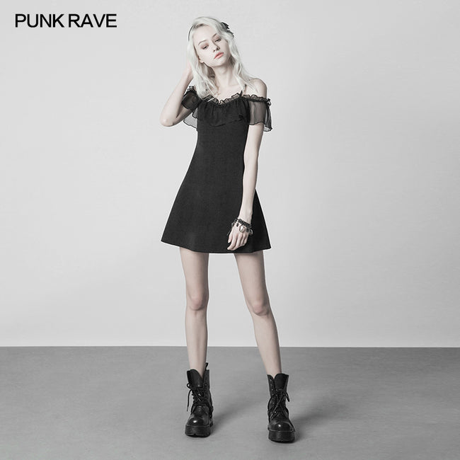 Sexy Wrinkle Chiffon Lotus Leaf Stitching Strap Dress A Pendulum Off Shoulder Gothic Dress