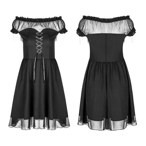 Elegant Gothic Lolita Off Shoulder Ruffle Lace Dress