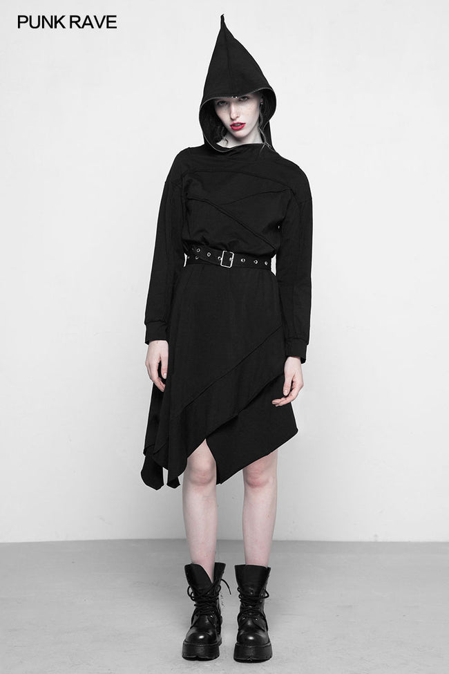 Personality Punk Asymmetric Layered Knit Dresses With Wizard Hat