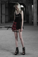 Punk Asymmetrical Black-Red Plaid Pleated Short Skirt For Women