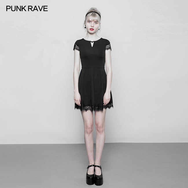 Women's Hollow Out Lace Stitching V-collar Gothic Dress