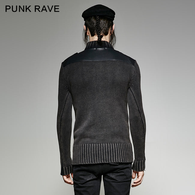 Steampunk Smoked Grey Punk Sweaters With A Belt
