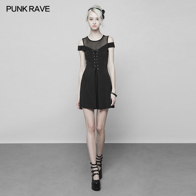 Women's Knitted Front Tie Rope Design Mesh Stitching Strapless Dress