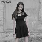 Sexy Hollow Out Lace Stitching Knit Gothic Dress With Buckle Collar Design