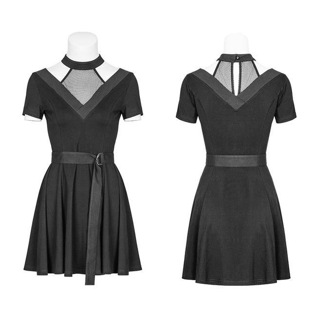 Personality Cotton Choker Mesh Stitching Black Punk Dress With Belt