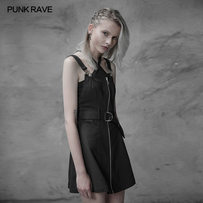 Personality Punk Metal A Pendulum Denim Dress With Adjustable Shoulder Straps