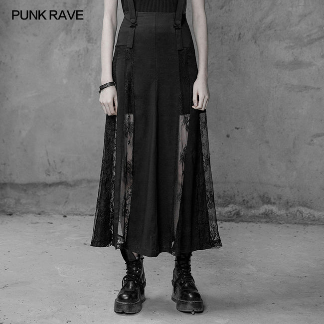 Sexy Long Chiffon Lace Split Gothic Skirt For Women
