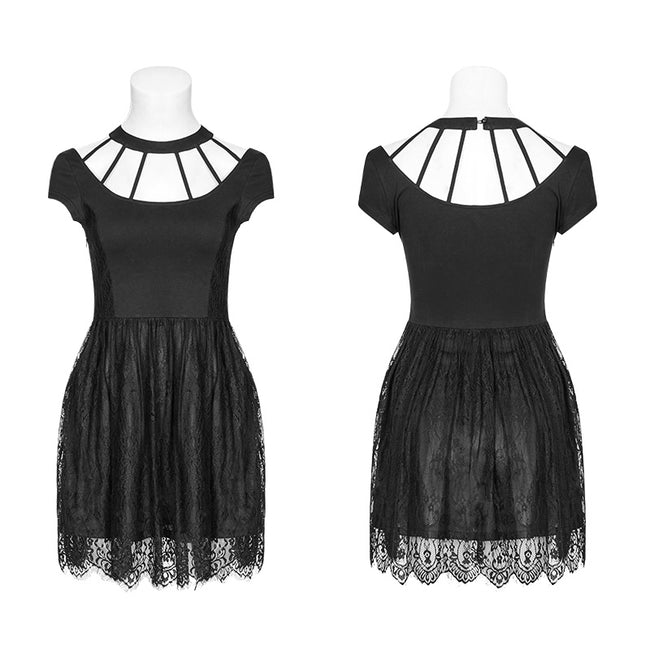 Women's Punk Sexy Dark Knit Lace Dress