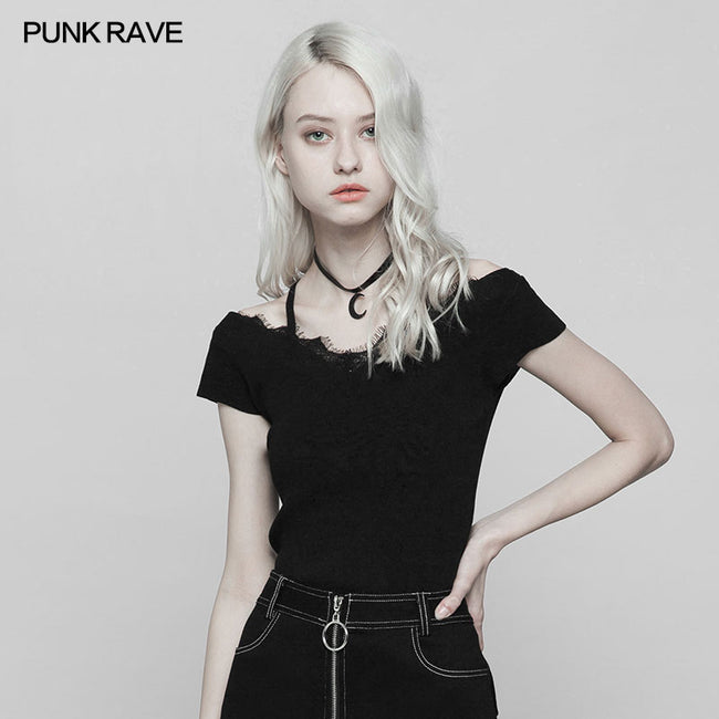 Punk Lace V-collar Back Cross Strap Knitted Sweater T-shirt