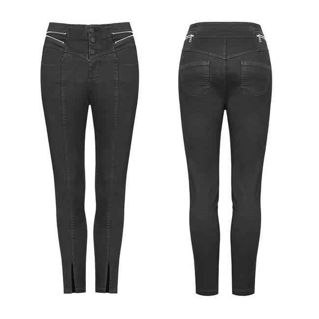 Women's High Waist Zipper Opening Fork Punk Jeans Denim Pants