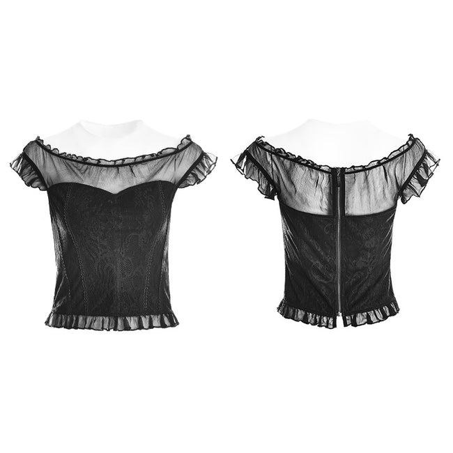 Soft Lace Imitate Silk Wrinkled Stitching Off Shoulder Tops Gothic T-shirt For Women