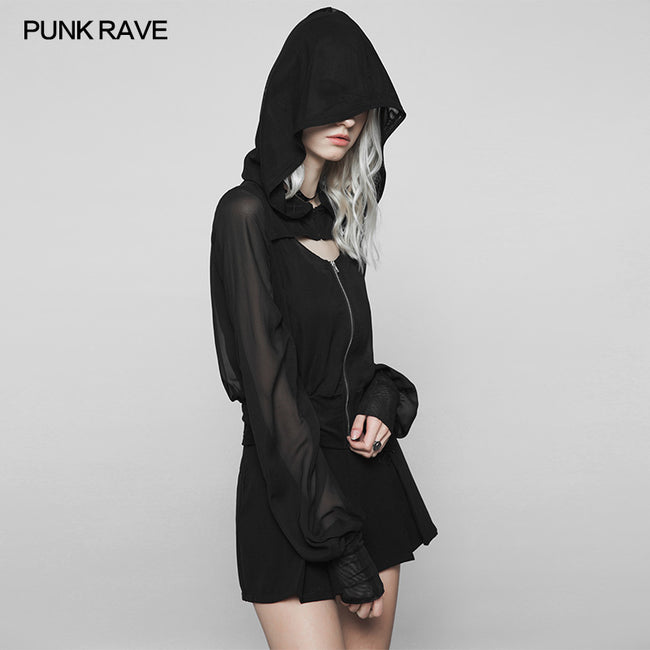 Dark Sexy V Collar Chiffon Mesh Stitching Short Punk Coat With Hood