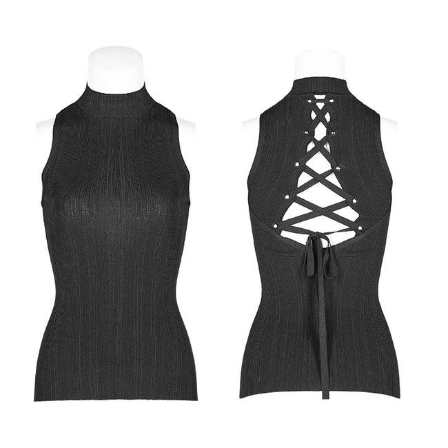 Womens Sexy Cross Thin Roping Ice Silk Knitted Punk Vest