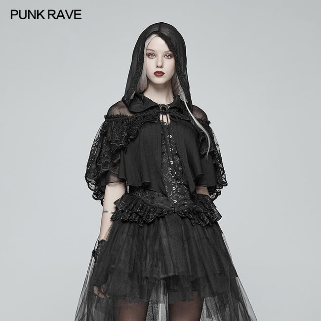 Lolita Transparent Lace Small Cloak With Hood
