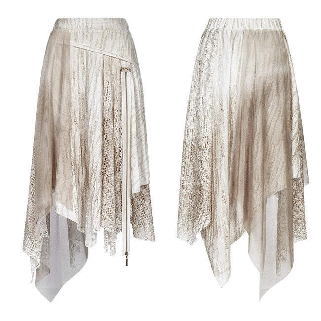 Vintage Steam Punk Asymmetric Lace Half Skirt