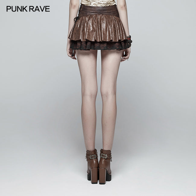 Lovely Steamy Ruffled Punk Miniskirt