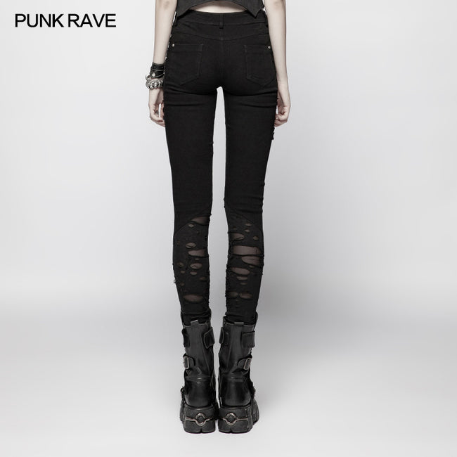 Punk Elastic Stitching Trousers With Broken Hole