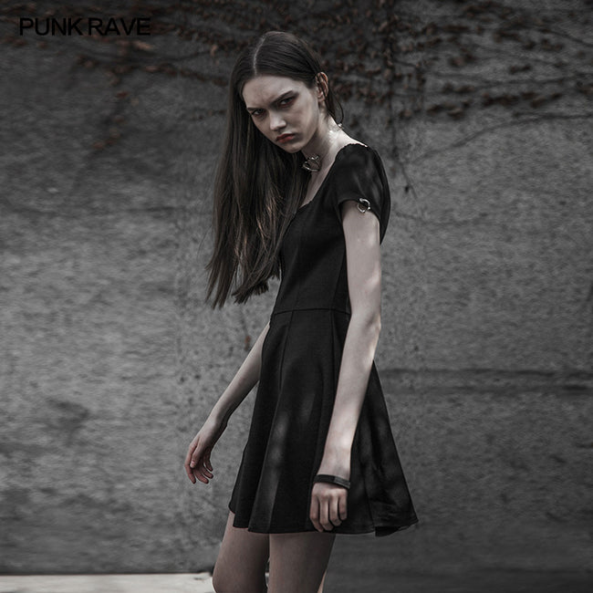 Punk Rave Square Collar Short Sleeve Knitted Dress