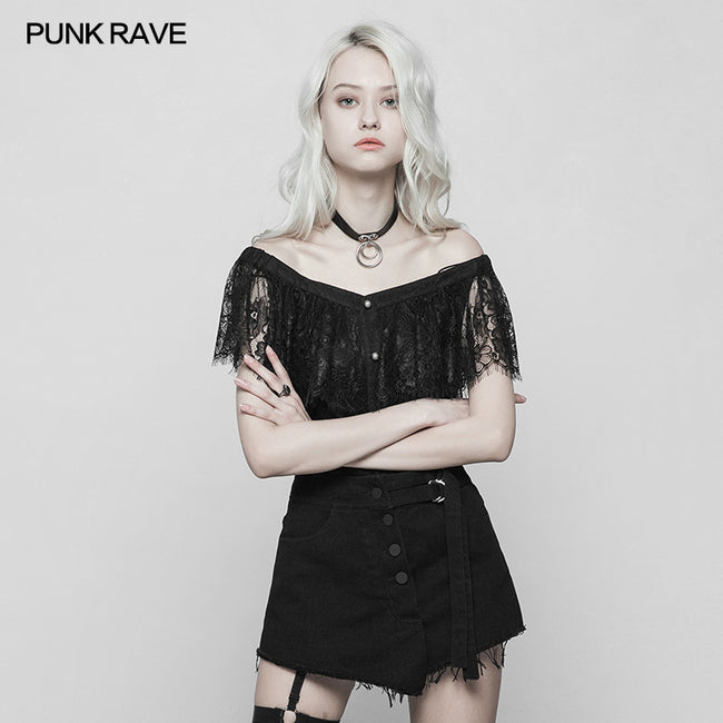Sexy Gothic Two Wear Off Shoulder Strap Lace Shirt
