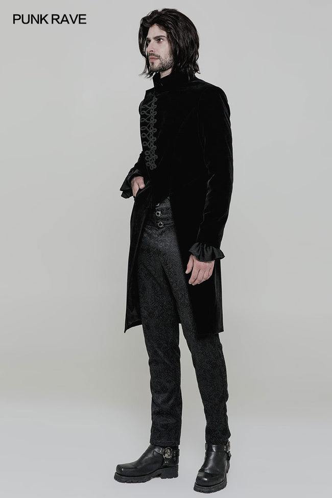 Gothic Mens Simple Long Sleeve Three-quarter Coat