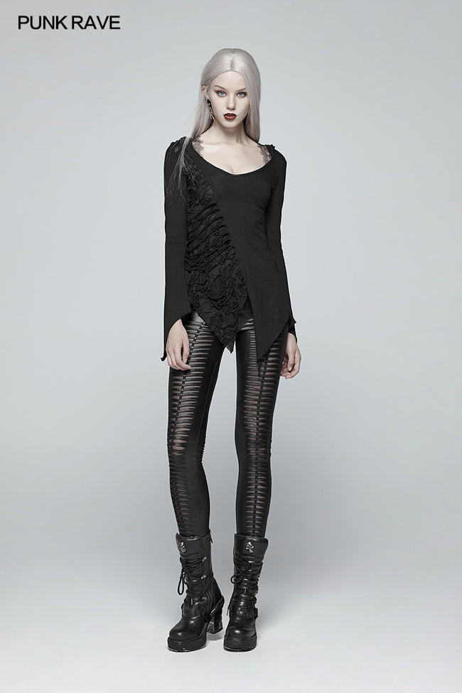 Dark Hooded Asymmetric Long Sleeve T-shirt