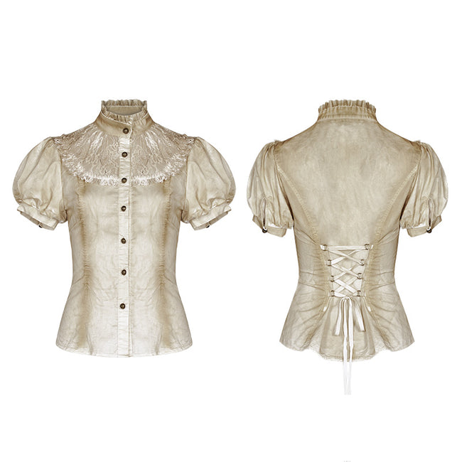 Steampunk Puff Sleeve Shirt Short-sleeved Blouse