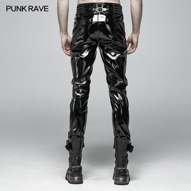 Punk Mens Glossy Patent-leather Trousers
