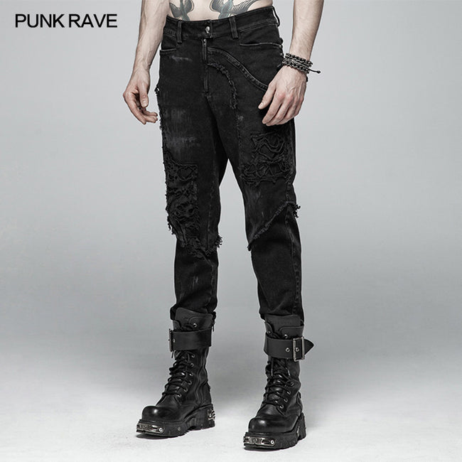 Punk Broken Hole Net Trousers
