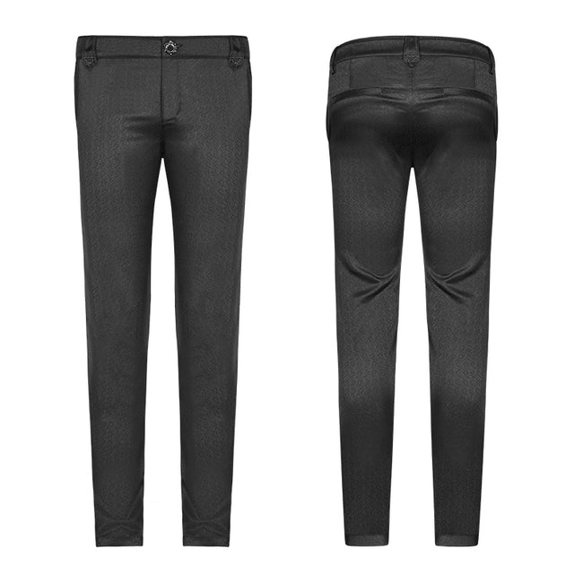 Gothic Mens Dark-textured Simple Non-stretchy Trousers