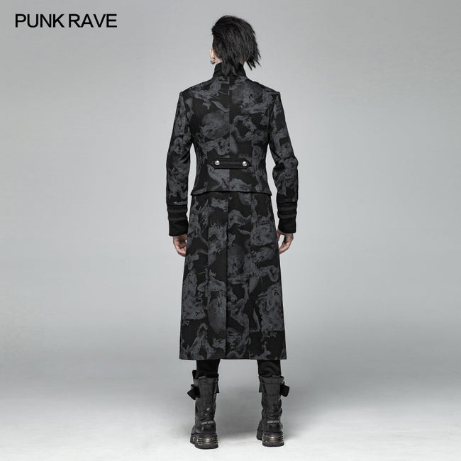 Punk Mens Dragon Totem Detachable Coat