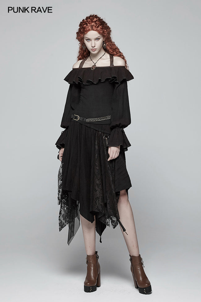 Steampunk Halter Neck Off-the-shoulder Long Sleeve T-shirt