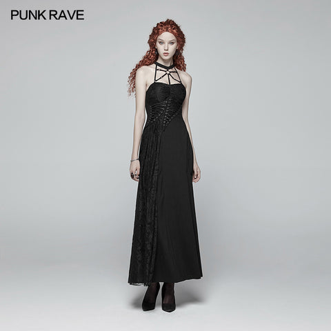 Gothic Womens Cross Halter Neck Daily Wear Dress