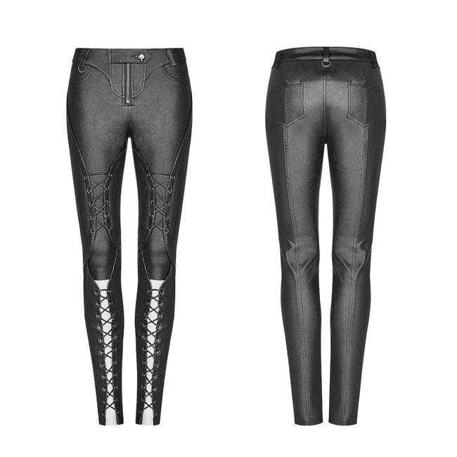 Punk Pressure Adhesive Faux Leather Woven Trousers