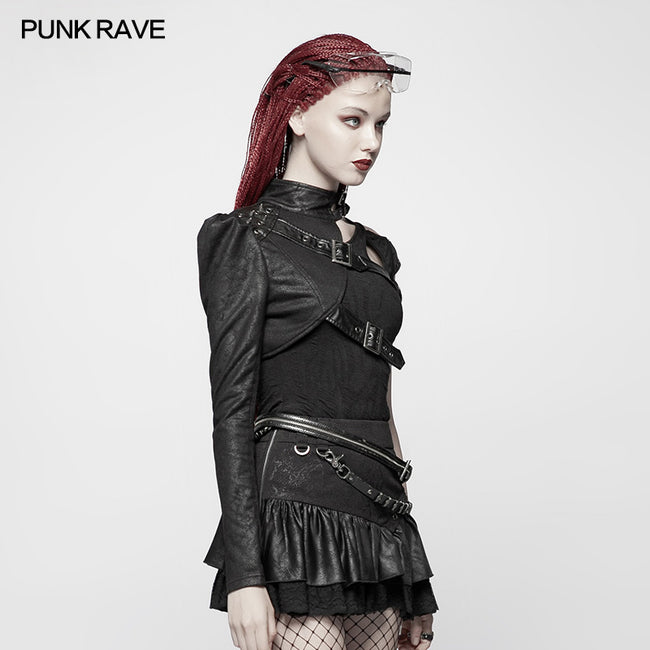 Punk Asymmetric One-arm Short Coat
