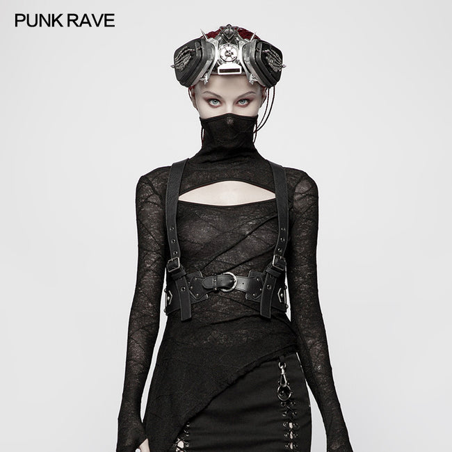 Punk Non-stretchy PU Leather Vest Accessories