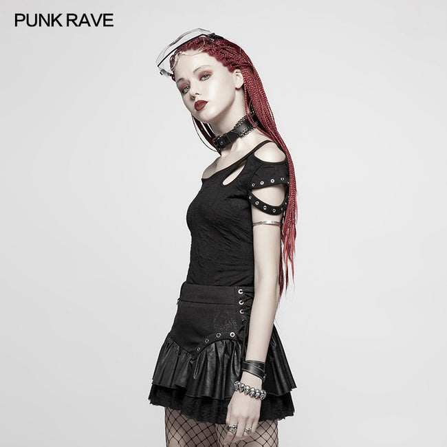 Daily Punk Short Sleeve T-shirt With Eyelets Decoration