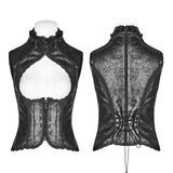 Steampunk Vintage Floral Lace-up Vest