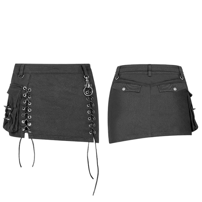Steampunk Asymmetric Lace-up Skirt