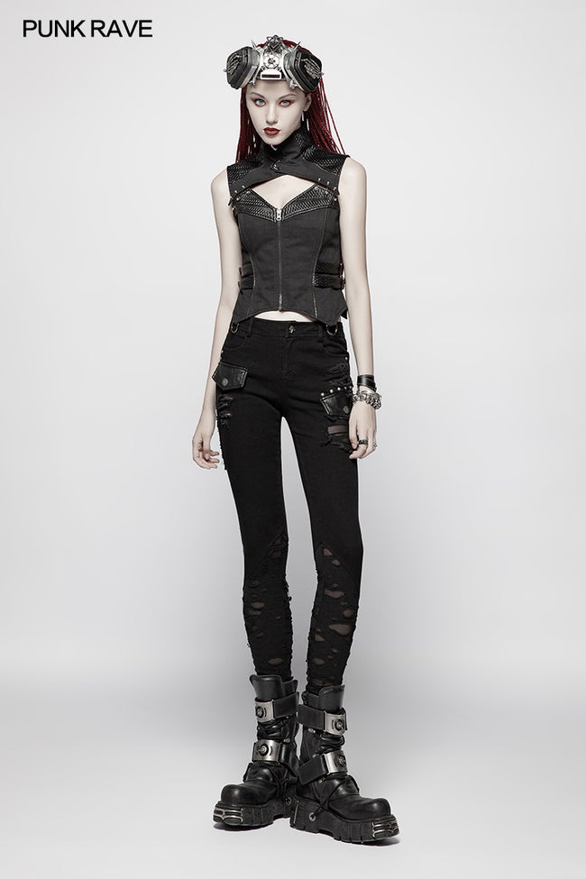 Punk WOMENS HIGH-NECK Warrior Vest
